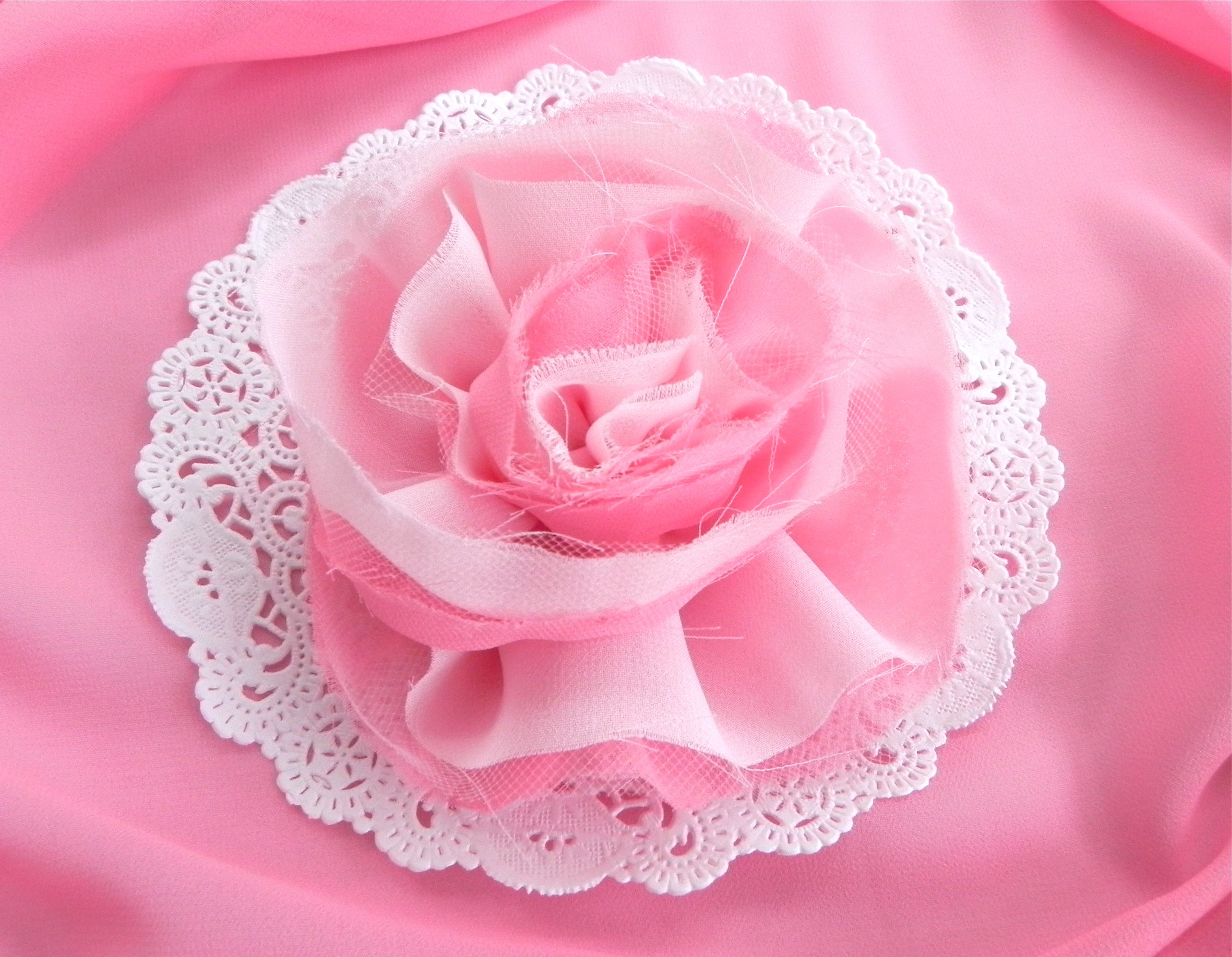 Diy fabric flowers rose inspired style miss party any fairly lightweight fabric can be used if you arent sure purchase an 18 14 yard then try it to see if you like the results mightylinksfo
