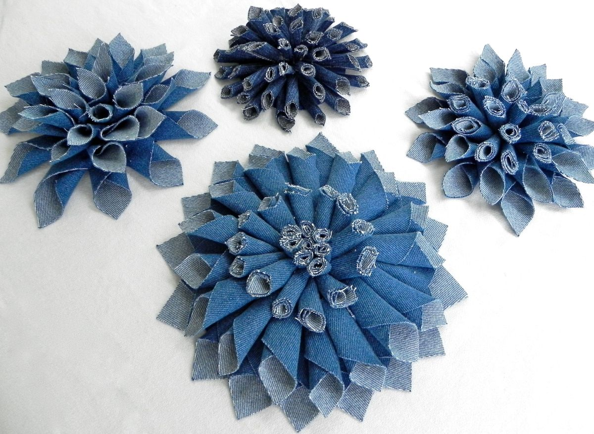 Цветы из джинсовой ткани своими руками мастер класс с пошаговым фото